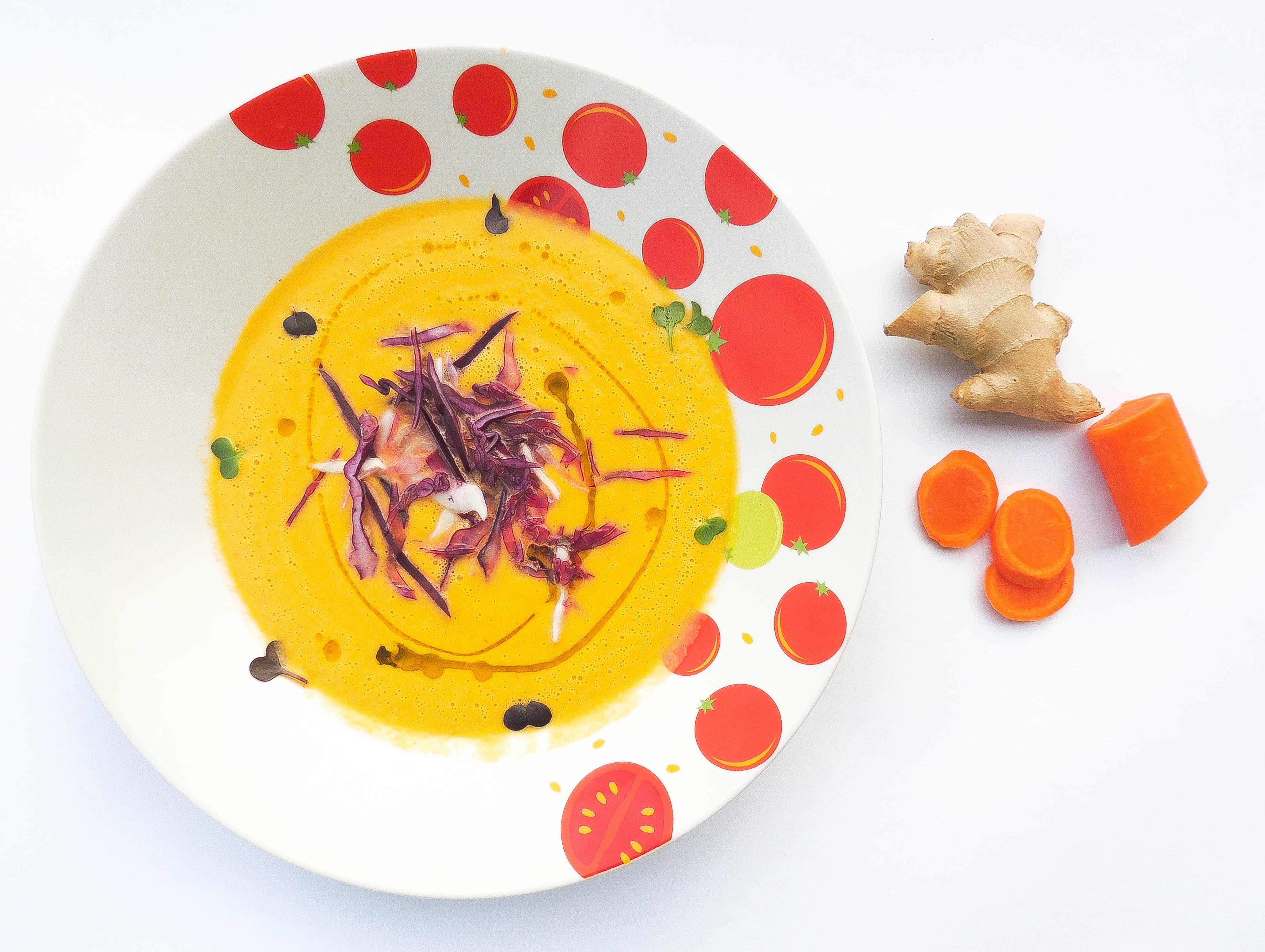 supa raw de morcovi cu ghimbir